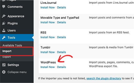 install-wordpress-importer-to-merge-multiple-wordpress-sites