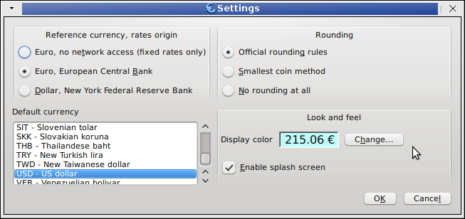 Keurocalc Linux universal currency converter settings screenshot