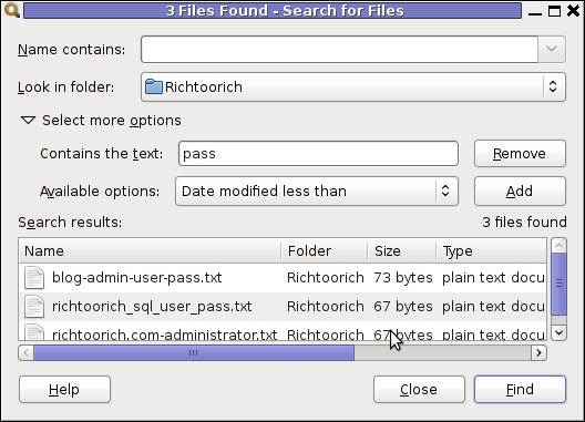 Screenshot 3 files found gnome search tool Linux screenshot