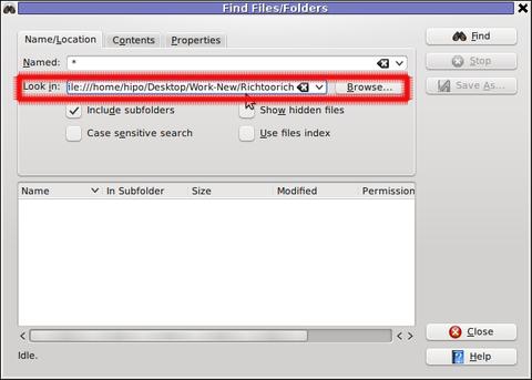 Screenshot find content in multiple files and folders recursively kfind kde program