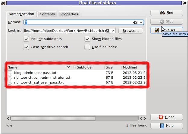 Screenshot find content in multiple files and folders recursively kfind kde gui program