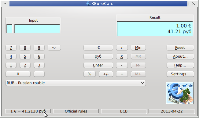 Linux Universal Currency Converter Keurocalc