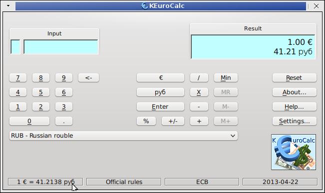 Linux Universal Currency Converter Keurocalc