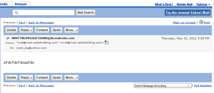 Yahoo Mail Classic view full headers screenshot