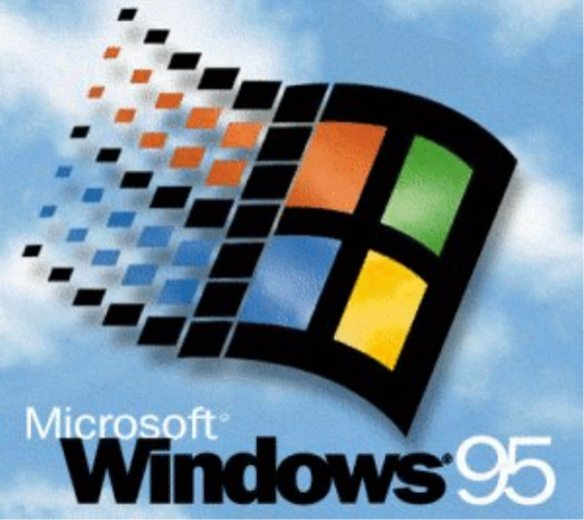 Microsoft Windows 95 4 colors flag and blue sky