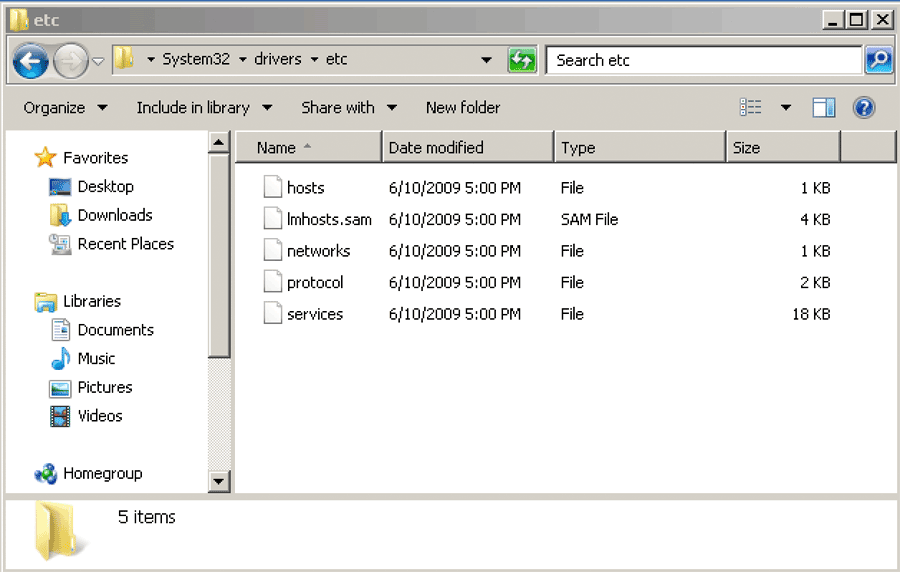 Microsoft Windows c:system32driversetchosts file Windows explorer screenshot
