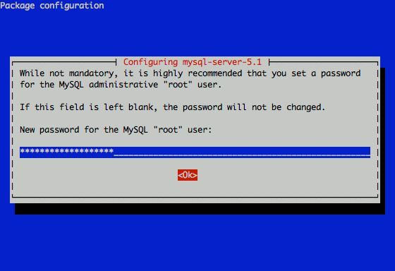 MySQL pass dialog Debian