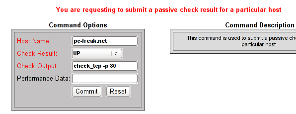 Nagios submit passive check with check TCP -p 80