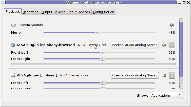 PavUcontrol PulseAudio mixer screenshot