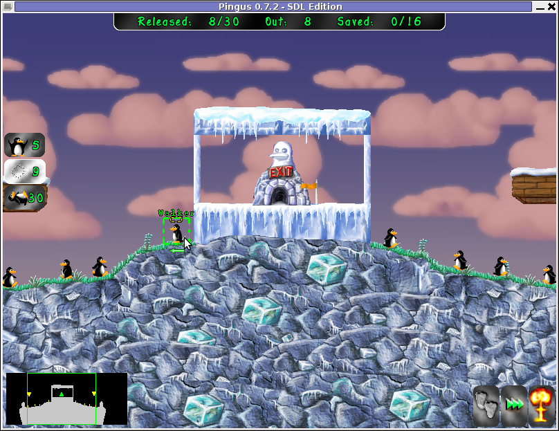 Pingus Lemmings like Free Software Game for Linux BSD level screenshot
