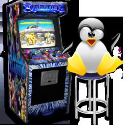 Play arcade games on Debian GNU Linux 7 Wheezy Tux arcade logo
