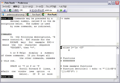 Poderosa Windows ssh / telnet tabs terminal emulator screenshot