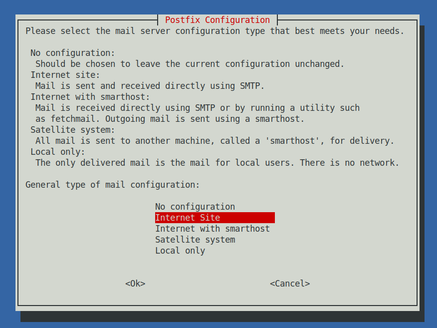 postfix-email-configuration-internet-site-screenshot-debian