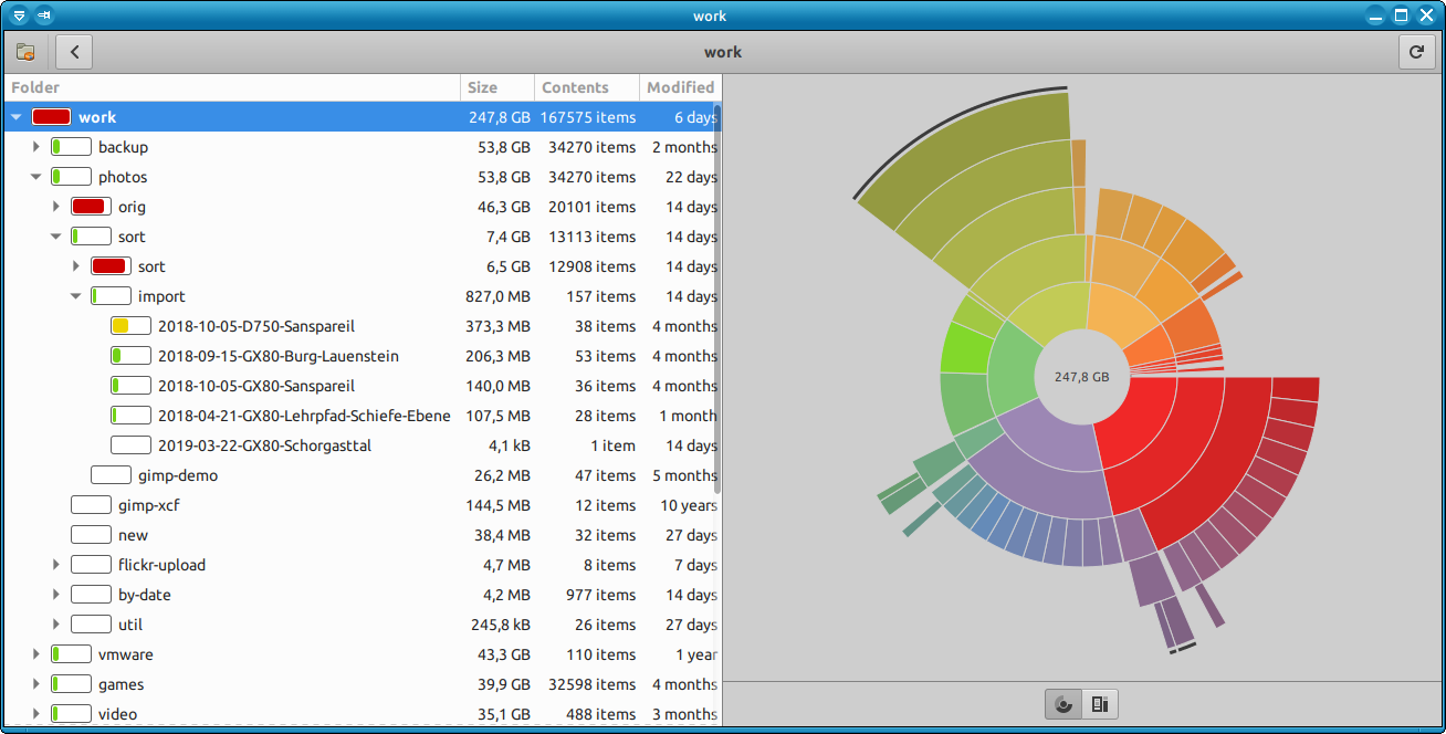 qdirstat-on-gnu-linur checking what is the disk space bottleneck qdirstat KDE