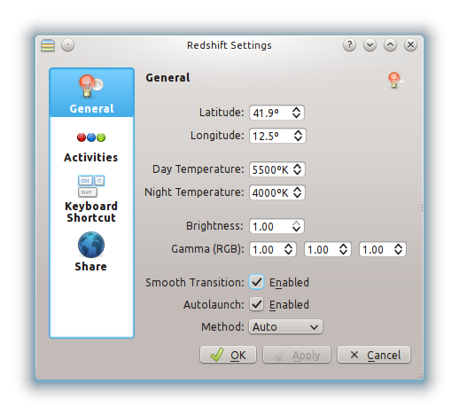 redshift-on-KDE-settings-menu