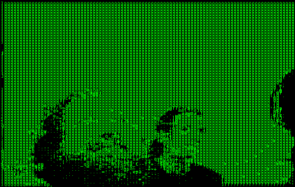 Richard M. Stallman (RMS) Face portrait rendered in ASCII art from a video with hasciicam