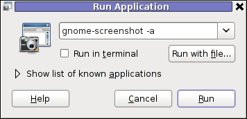 gnome-screenshot Run Application in GNOME 2.30 on Debian GNU / Linux