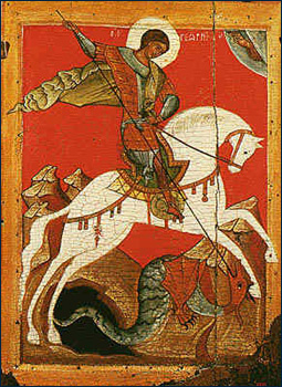 saint George orthodox icon from Novgorod 15th century icon
