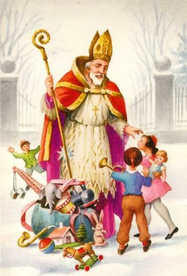 saint Nicolas as being depicted in western europe - Sinta Klass kids protector in Roman Catholic Church
