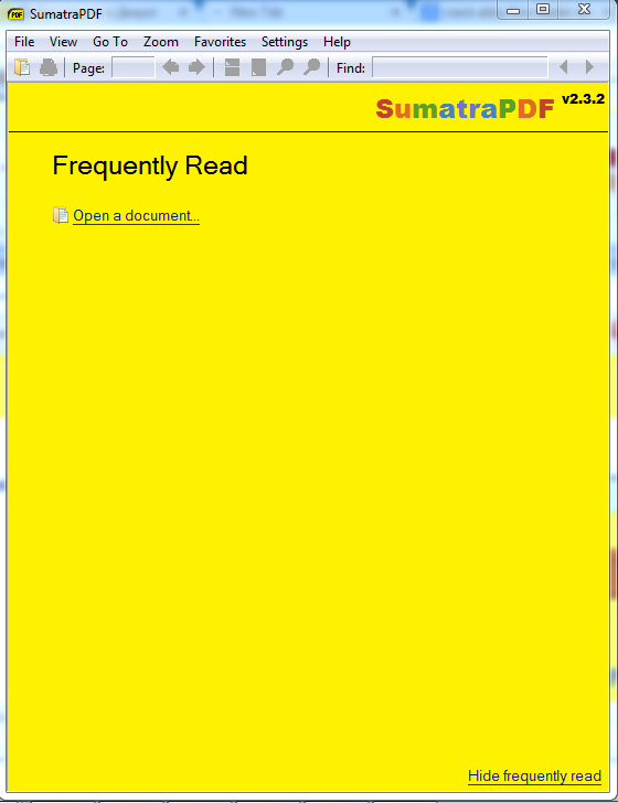 Sumatra pdf reader screenshot ms windows 7