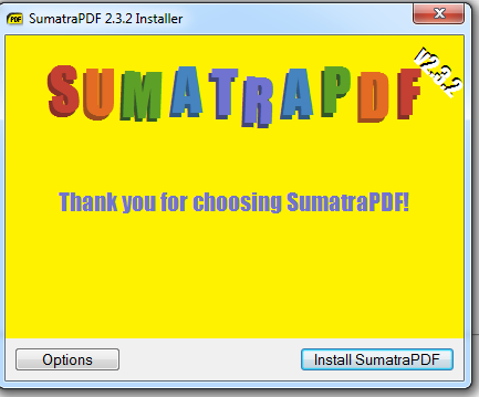 sumatra pdfafter install thank you screenshot