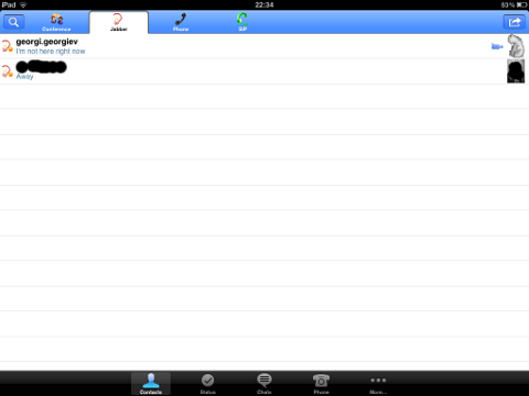 TalkonAut Jabber XMPP Mobile client Apple Ipad Screenshot