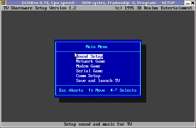 Terminal Velocity TV, dosbox setup.exe sound blaster setup program screenshot