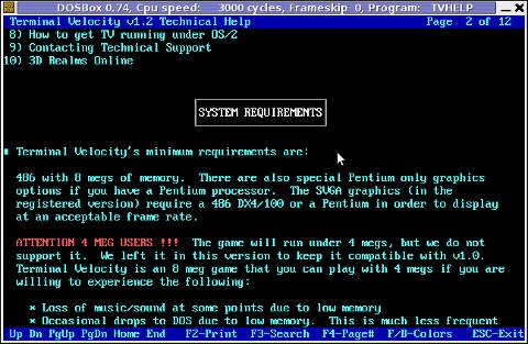 Terminal Veolocity on Disk technical support manual