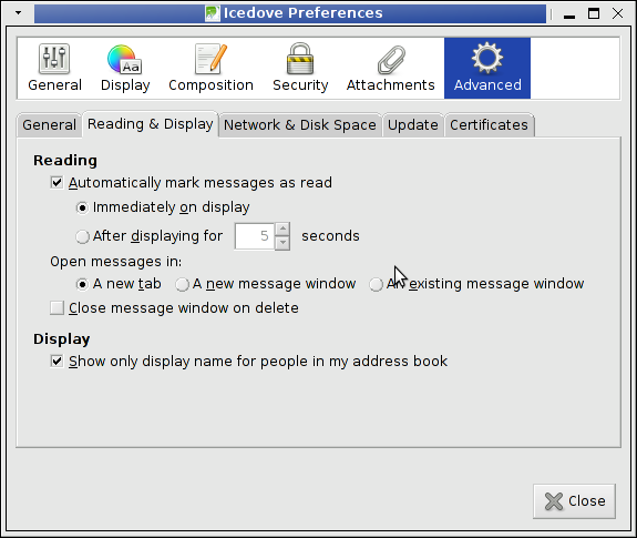 Thunderbird edit preferences advanced tab Reading & Display screenshot