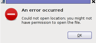 Totem VCD error occured, could not open location you might not have permissions to open the file