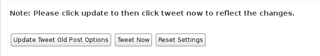 Tweet-old-post update tweet old post options tweet now reset settings buttons wordpress screenshot