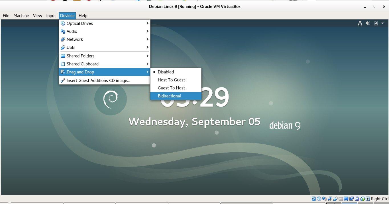 virtualbox-VM-enable-devices-drag-and-drop-bidirectional-menu-screenshot-debian-linux
