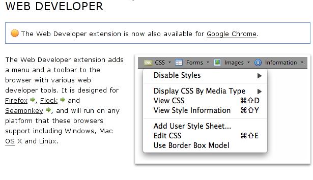 Web developer plugin on Iceweasel and Firefox