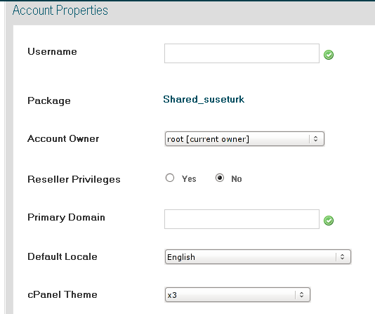 WHM CPanel admin account properties