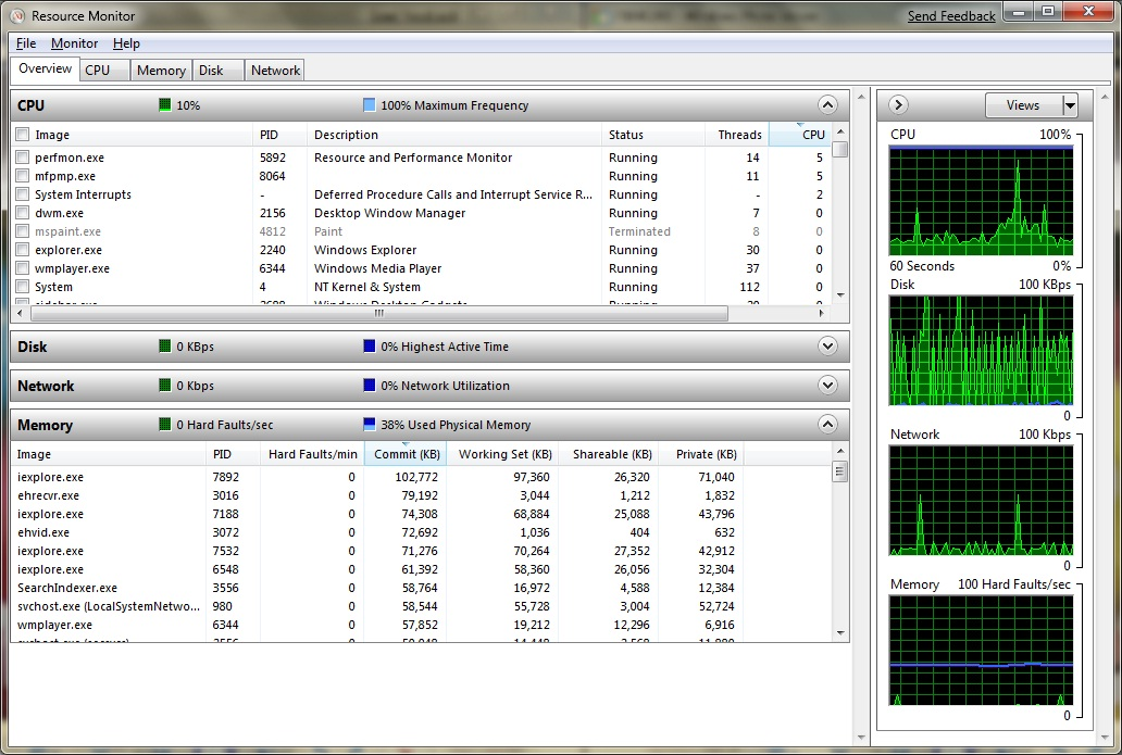 microsoft windows 7 resource monitor screenshot