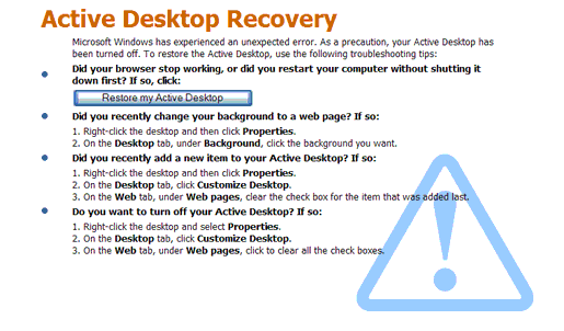 Windows XP active desktop recovery screenshot picture