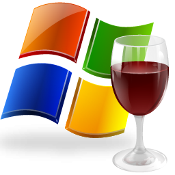 wine linux ms windows emulator logo with microsoft windows