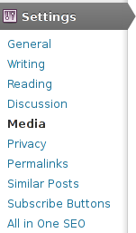 wordpress blog wp admin administrator settings media menu location screenshot