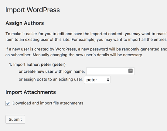 wordpress-import-settings-page-screenshot-howto-merge-sites
