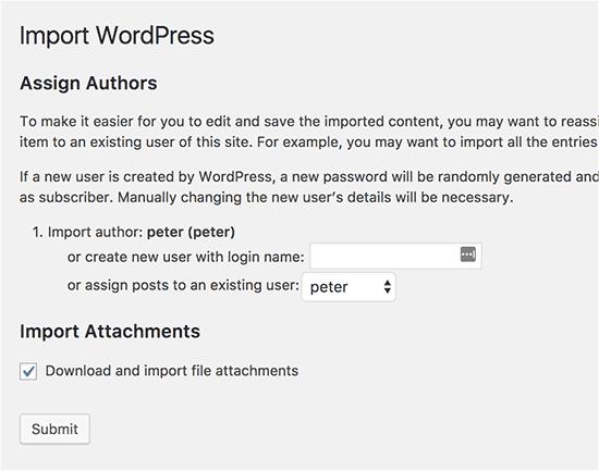 wordpress-import-settings-page-screenshot-howto-merge-sites