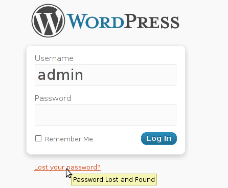 Wordpress lost your password prompt screen