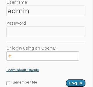 wp admin login with OpenID screenshot