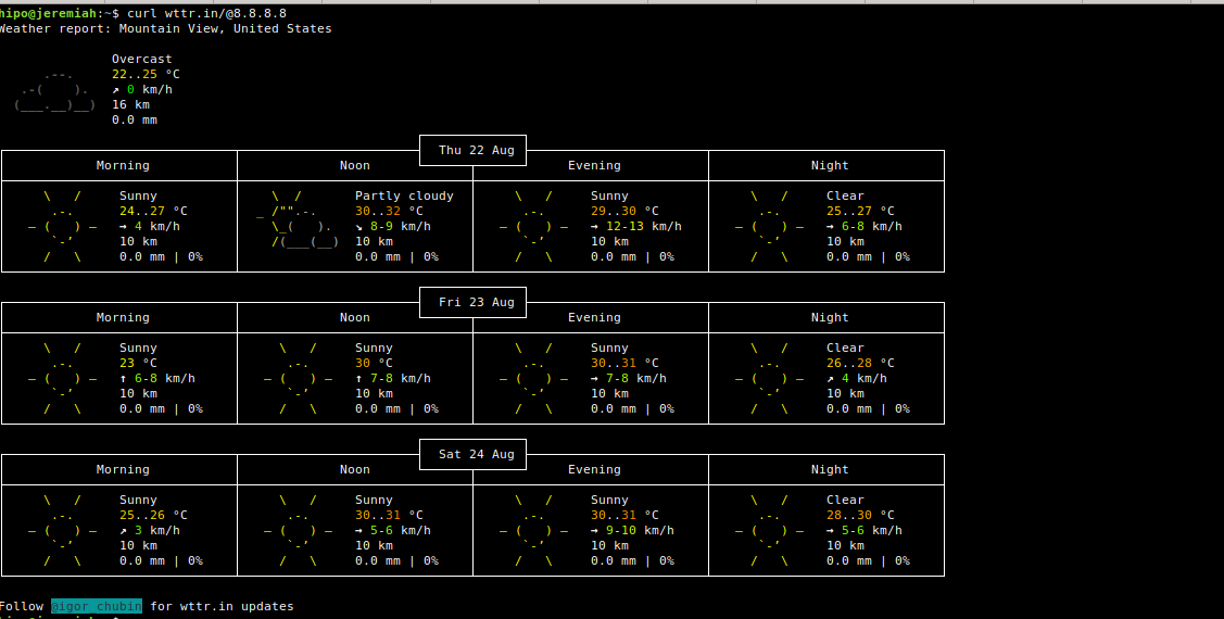wttr.in-Linux-text--forecast-service-curl-screenshot Google Public DNS location weather forecast