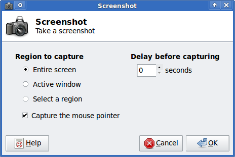 XFCE screenshooter Slackware Linux take a screenshot dialog