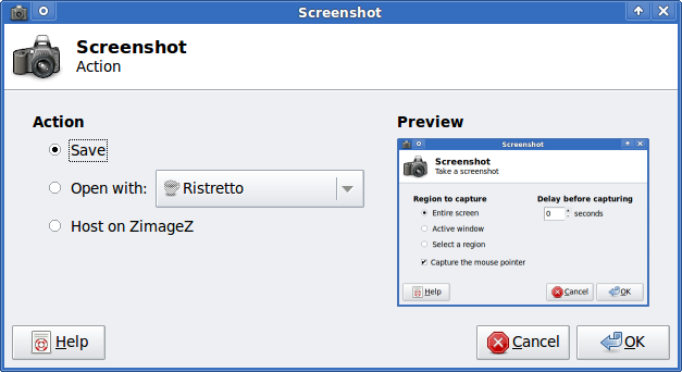 XFCE screenshooter Slackware Linux action Save